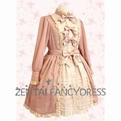 Long Puff Sleeves Stand Collar Pink Classic Lolita Dress On Sale ...