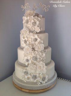 Pretty silver bling wedding cake
