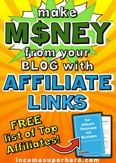Affiliate links are a great way to make income from your blog regardless of your traffic | Learn the steps you should take to start making money using affiliate links | Click to download my FREE List of Top Affiliates Make Money Blogging, Way To Make Money, Business Tips, Online Business, How To Start A Blog, How To Get, Superhero Stories, Affiliate Marketing, The Help