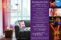 Alive.Beautiful.Club. We have all been waiting to know what is the Alive.Beautiful.Club.The wait is over... $99 a month is only the beginning to a new age of health and wellness like no other. Subscribe tomorrow at YeloSpa San Juan, by phone, by email or online at www.yelospa.com