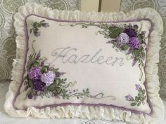 upload Embroidered Cushions, Silk Ribbon Embroidery, Ribbon Work, Cushion Covers, Bed Pillows, Applique, Pictures, Crafts, Interior Design