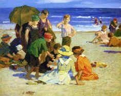 """""""Une sortie 1 Famille"""", dessin de Edward Henry Potthast (1879-1881, United States)"""