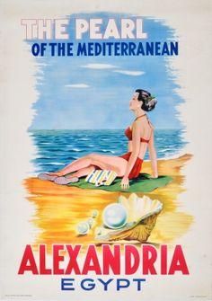 Alexandria Egypt, 1950s - original vintage poster by Rachad Menassa listed on AntikBar.co.uk
