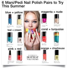 6 Mani/Pedi Nail Polish Pairs to Try This Summer by carlottabruni on Polyvore featuring polyvore and beauty