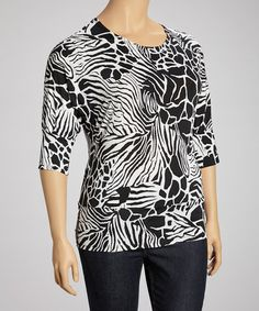 Take a look at this Black & White Zebra & Giraffe Dolman Top - Plus by Avital on #zulily today!