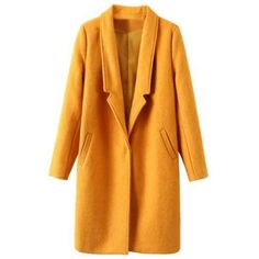 Stylish Long Sleeve Pure Color Pocket Coat For Women ($48) ❤ liked on Polyvore featuring outerwear, coats, long sleeve coat and yellow coat
