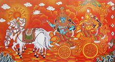 Krishna Preaching Gita to Arjuna in the Battlefield of Kurukshetra - Reprints of Temple Murals (Reprint on Paper - Unframed) Krishna Painting, Krishna Art, Radhe Krishna, Buddha Painting, Krishna Images, Madhubani Art, Madhubani Painting, Kalamkari Painting, Shiva