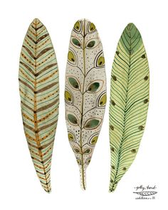 Feathery Plumes Green Print, bird feathers art, giclee print, reproduction watercolor