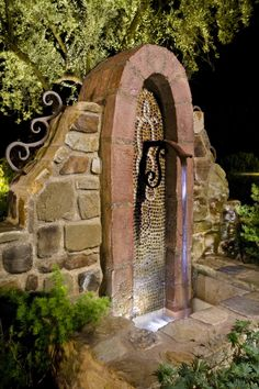 Rustic stone water feature