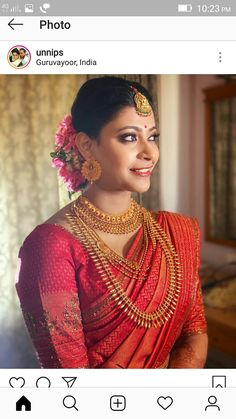 Kerala Hindu Bride, South Indian Bride Saree, Indian Wedding Bride, Wedding Set, Wedding Pics, Gold Wedding, Indian Bridal Outfits, Indian Bridal Fashion, Bridal Hairdo