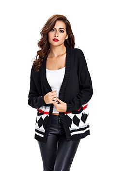 Dressray Womens Open Front Pockets Cardigan Cotton Long Sleeve Sweater  Black One Size -- More info could be found at the image url.