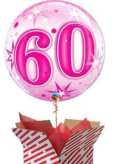 Large Pink Starburst 60th Birthday Helium Balloon