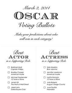 Printable 2014 Oscar Voting Ballot by RittenhouseTrades, $7.00