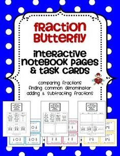 butterfly fraction adding subtracting fractions poster cards worksheets math anchor. Black Bedroom Furniture Sets. Home Design Ideas