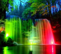Waterfall with L.E.D. lights shining on out. Just beaUTiful.