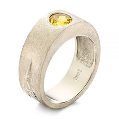 This elegant men's wedding ring features a Chatham yellow sapphire flush set at the top, accented by a brushed finish and custom hand engraving on the tapered palladium white gold shank. Designed and created by Joseph Jewelry Wedding Men, Wedding Rings, Thing 1, Alternative Engagement Rings, Viking Jewelry, Stainless Steel Rings, Dream Ring, Hand Engraving, Unique Rings