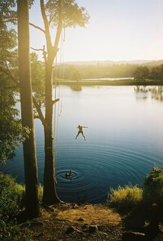 Rope swing - I did this at Belews Lake...Hands slipped, landed on gravel before rolling into lake.  haha