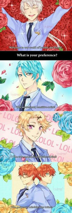 Zen, V, Yoosung, 707, Unknown, text, comic, Ouran High School Host Club, crossover, funny; Mystic Messenger
