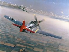 """Two Down, One to Goby William S. Phillips Famed Tuskegee airman Lt. C.D. """"Lucky"""" Lester of the 332nd Fighter Group scores his second of three victories over German aircraft, not only in a single day,"""