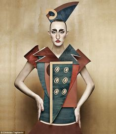 """Dame di Cartone (""""Cardboard Ladies"""") is a project by Swiss-Italian photographer Christian Tagliavini in which he creates portraits of women that mimic the look of historical paintings. The styles include century, fifties, and cubism. Cubism Fashion, Arte Fashion, Paper Fashion, Cardboard Costume, Cardboard Art, Illustration Arte, Erwin Olaf, Art Photography, Fashion Photography"""
