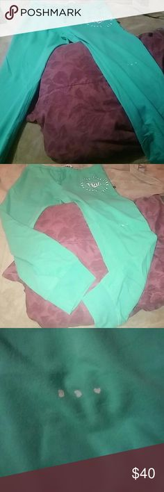 Large teal pink joggers rd description Have 3 lil dots on the pants.. I bought them and never wore them so they are brand new besides my lil one playin with the bleach pen and puttin three dots on pants..?? PINK Victoria's Secret Pants Track Pants & Joggers