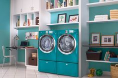 Fun teal laundry room - I would totally do that!