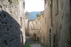Balestrino, Italy. Founded around the 11th century. It was known for being a geologically unstable area, with frequent earthquakes. In 1957 the few remaining inhabitants (about 400) were transferred to a new city, located 1 km from this