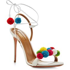 Aquazzura Pom Pom Embellished Sandals ($825) ❤ liked on Polyvore featuring shoes, sandals, heels, sapato, white shoes, white sandals, ankle strap heel sandals, toe strap sandals and heeled sandals