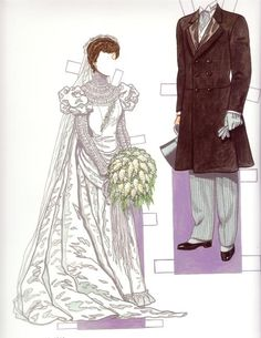 "Bride & Groom 1900s*1500 free paper dolls at Arielle Gabriel""s The International Paper Doll Society and free Chinese Japanese paper dolls at The China Adventures of Arielle Gabriel *"
