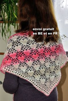 Shawl, cheche, scarf crochet mohair and acrylic premium gift mother day, free delivery in Belgium and France