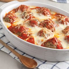 Italian-style meatballs layered with tomato-basil pasta sauce, fontina, and Parmesan baked into a rich bucatini pasta.