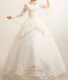Modest Wedding Dresses With Long Sleeves, Lace Wedding Dresses Vintage
