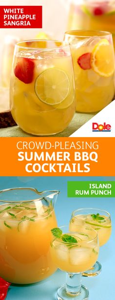 Crowd-Pleasing Summer BBQ Cocktails  -  No backyard party is complete without the perfect party drink. And there's no better complement to your cocktail than DOLE® Canned 100% Pineapple Juice. From White Pineapple Sangria to Island Rum Punch, you're sure to find the perfect cocktail for your next BBQ.