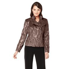 Shop Adrienne Landau Faux Fur Moto Croco-Embossed Jacket, read customer reviews and more at HSN.com.