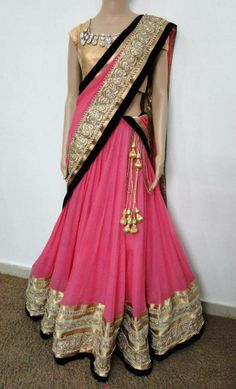wedding attire in pink and silver/golden/black border, traditional Indian dress for parties and ocassions