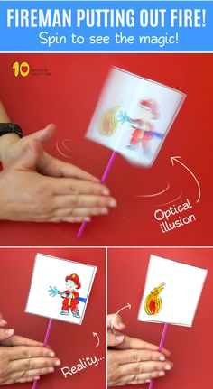 Fireman Putting Out Fire Optical Illusion Craft - DIY Selber Machen Fireman Kids, Fireman Crafts, Firefighter Crafts, Toddler Crafts, Preschool Crafts, Fun Crafts, Paper Crafts, Art And Craft Videos, Easy Arts And Crafts