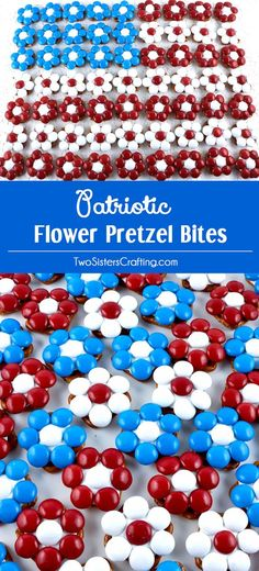 These great Patriotic Flower Pretzel Bites will be everyone's favorite 4th of July Treat - so easy to make and so delicious. They are yummy bites of Red White and Blue sweet and salty goodness. They would be great at a 4th of July Party, a Memorial Day barbecue or an Olympics viewing party. Pin this delicious 4th of July dessert for later and follow us for more great 4th of July Food Ideas.