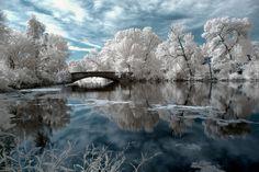 Tenney Park Bridge 2 Infrared by hardpan photo, via Flickr