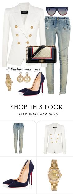 """Mood"" by fashionmixtapes ❤ liked on Polyvore featuring Balmain, Chanel, Christian Louboutin, CÉLINE and Rolex"