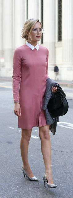 rose pleated long-sleeve dress, collared white shirt, grey blazer, snakeskin pointed toe pumps, black shoulder bag, silver rim aviator eyeglasses {asos, theory, goodnight macaroon, mango, moyi moyi, made eyewear}