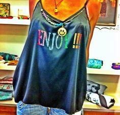 Black top . Enjoy .smiley charm. Funshion  fashion . Come yo visit my shop .. Bygalit on etsy .