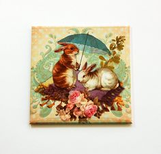 Easter magnet, Easter Bunny Magnet, Easter Bunny, Magnet, Fridge magnet, Easter, Victorian Style, Easter Rabbit, Easter gift (5472) by KellysMagnets on Etsy