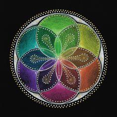 ❤~ Mandala ~❤☮Semilla con Seis Pétalos de Vida Rueda En color Mandala