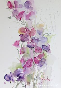Pin by Loes Alsemgeest on Vintage images Flowers and Fruit Easy Watercolor, Watercolor Cards, Watercolor Print, Watercolor Flowers, Watercolor Paintings, Watercolours, Watercolor Artists, Watercolor Portraits, Watercolor Landscape