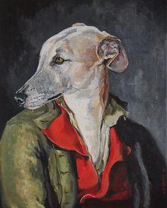 tableau portrait animalier chien lévrier humanisé peinture acrylique sur toile