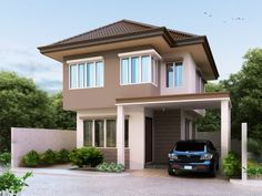 Two Story House Plans are built for majority of home, both today and in the past. Pinoy houseplans - 2014003 provides traditional layout with bedrooms on the second floor and living spaced situated on the ground floor. Two Story House Design, 2 Storey House Design, Best Modern House Design, Two Story House Plans, Two Storey House, Contemporary House Plans, Modern House Plans, Small House Plans, Modern Courtyard