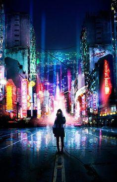 Cyberpunk city street urban environment architecture design concept art, cyberpunk illustration artworks, scifi city fantasy modern city movie poster design Jacked in by vaporization landscape location environment architecture Arte Cyberpunk, Cyberpunk City, Futuristic City, Futuristic Architecture, Cyberpunk Anime, Cyberpunk Fashion, Shadowrun, Anime Scenery, Sci Fi Fantasy