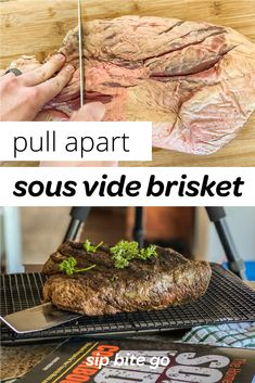 Learn how to sous vide brisket, step by step with recipe video. This is an easy sous vide beef recipe to feed a crowd. Finish in the smoker or oven broiler. Pork Recipes, Veggie Recipes, Spinach Recipes, Veggie Food, Recipes Dinner, Fun Easy Recipes, Easy Meals, Amazing Recipes, Smoked Beef Brisket