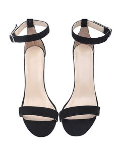 Black Ankle Strap Suede High Heeled Shoes