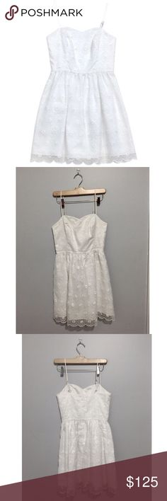 White Lilly Pulitzer Spaghetti Strap Dress Excellent condition. Rare dress, no longer made. Beautiful floral lace print Lilly Pulitzer Dresses Mini